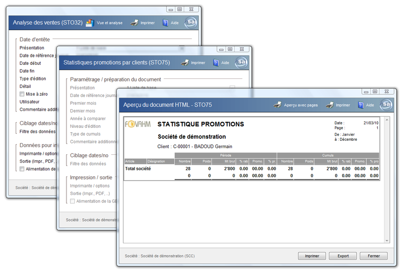Statistiques promotions